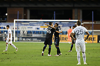 SAN JOSE, CA - OCTOBER 03: Luis Felipe #96\ celebrates with Andy Rios #25 of the San Jose Earthquakes during a game between Los Angeles Galaxy and San Jose Earthquakes at Earthquakes Stadium on October 03, 2020 in San Jose, California.