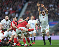 Tomos Williams of Wales sends up a box kick as George Kruis of England attempts to block during the Guinness Six Nations match between England and Wales at Twickenham Stadium on Saturday 7th March 2020 (Photo by Rob Munro/Stewart Communications)