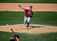 6 June 2021: Binghamton Rumble Ponies pitcher Thomas McIlraith on the mound against the New Hampshire Fisher Cats at Northeast Delta Dental Stadium in Manchester, NH. The Rumble Ponies defeated the Fisher Cats 9-6 to close out their 6-game series. Mandatory Credit: Ed Wolfstein Photo *** RAW (NEF) Image File Available ***
