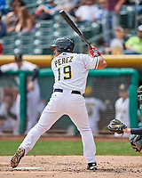 Carlos Perez (19) of the Salt Lake Bees at bat against the El Paso Chihuahuas in Pacific Coast League action at Smith's Ballpark on April 30, 2017 in Salt Lake City, Utah. El Paso defeated Salt Lake 3-0. This was Game 1 of a double-header. (Stephen Smith/Four Seam Images)