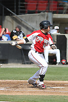 Carolina Mudcats shortstop Tony Wolters #11 at bat during a game against the Lynchburg Hillcats at Five County Stadium on April 26, 2012 in Zebulon, North Carolina. Carolina defeated Lynchburg by the score of 8-5. (Robert Gurganus/Four Seam Images)