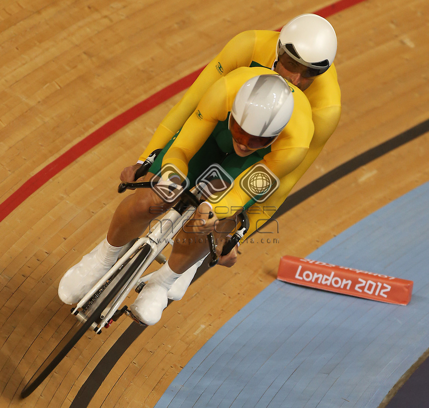 Kieran Modra and Scott McPhee (AUS) in the Men's Individual B Pursuit.<br /> Track Cycling (Thursday 29th Aug)<br /> Paralympics - Summer / London 2012<br /> London England 29 Aug - 9 Sept <br /> © Sport the library/Joseph Johnson