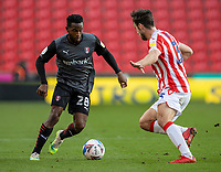 31st October 2020; Bet365 Stadium, Stoke, Staffordshire, England; English Football League Championship Football, Stoke City versus Rotherham United; Florian Jozefzoon of Rotherham United under pressure from Morgan Fox of Stoke City