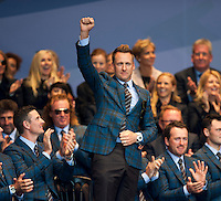 25.09.2014. Gleneagles, Auchterarder, Perthshire, Scotland.  The Ryder Cup.  Ian Poulter (EUR) at the opening ceremony.