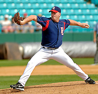 14 March 2006: Mike Stanton, pitcher for the Washington Nationals,winds up on the mound during a Spring Training game against the Florida Marlins. The Marlins defeated the Nationals 2-1 at Space Coast Stadium, in Viera, Florida...Mandatory Photo Credit: Ed Wolfstein..