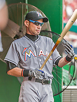 30 August 2015: Miami Marlins outfielder Ichiro Suzuki stands in the dugout prior to facing the Washington Nationals at Nationals Park in Washington, DC. The Nationals defeated the Marlins 7-4 in the third game of their 3-game weekend series. Mandatory Credit: Ed Wolfstein Photo *** RAW (NEF) Image File Available ***