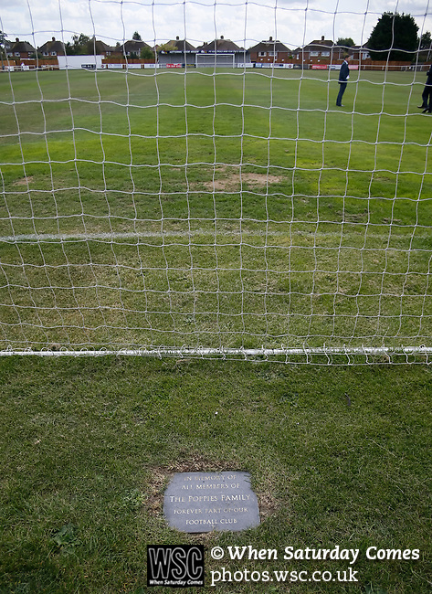 A memorial plaque to Kettering fans behind one of the goals. Kettering Town 1 Leiston 2, Evo Stick Southern League Premier Central, Latimer Park. Kettering Town are a famous name in non-league football. After financial problems, relegations, and relocation, the club are once again upwardly mobile. Despite losing to Leiston, Kettering finished the season as Champions and were promoted to the National League North.