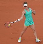 Samantha Stosur (AUS) loses to Maria Sharapova (RUS) 6-3, 6-4 at  Roland Garros being played at Stade Roland Garros in Paris, France on May 29, 2015