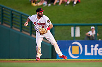 Rochester Red Wings second baseman Jake Noll (18) throws to first base during a game against the Worcester Red Sox on September 3, 2021 at Frontier Field in Rochester, New York.  (Mike Janes/Four Seam Images)