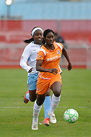 Anita Asante (5) of Sky Blue FC. Sky Blue FC defeated the Chicago Red Stars 1-0 during a Women's Professional Soccer match at Yurcak Field in Piscataway, NJ, on June 17, 2009.