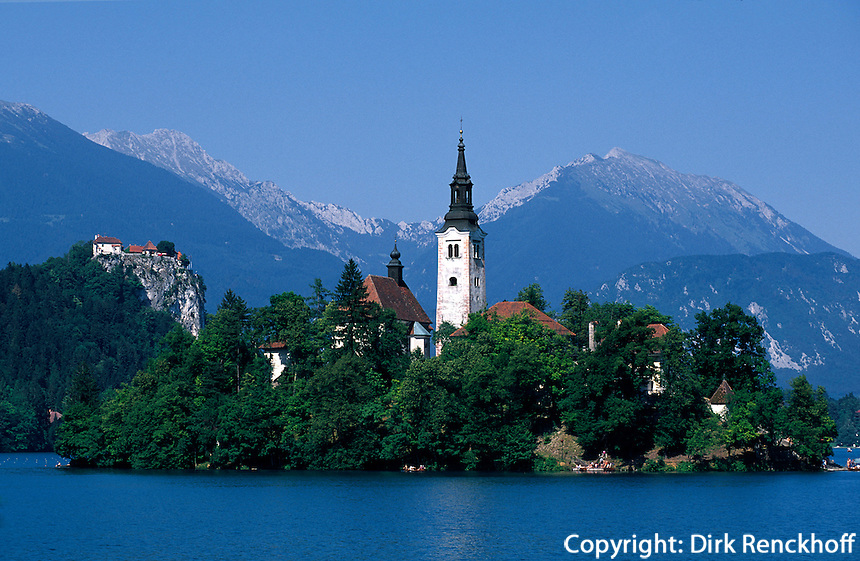 Insel Bljski Otok im See von Bled, Slowenien