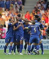 Italian defender (23) Marco Materazzi celebrates his goal with teammates.  Italy defeated France on penalty kicks after leaving the score tied, 1-1, in regulation time in the FIFA World Cup final match at Olympic Stadium in Berlin, Germany, July 9, 2006.