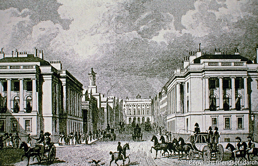 Waterloo Place, looking North. Regent St.  John Nash. Historical print.