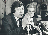 1979 FILE PHOTO - ARCHIVES -<br /> <br /> Thanks, Lord: Attorney-General Roy McMurtry seems to be offering a prayer of thanks as he and Mississauga Mayor Hazel McCallion announce that many of the evacuees can go home.<br /> <br /> Bezant, Graham<br /> Picture, 1979<br /> <br /> 1979,<br /> <br /> PHOTO : Graham Bezant - Toronto Star Archives - AQP
