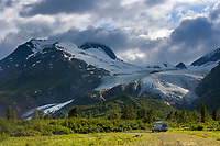 Richardson highway and the Worthington Glacier coming from the Chugach mountain range, southcentral, Alaska.
