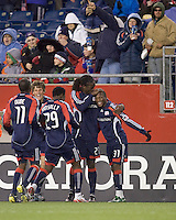 New England Revolution midfielder Sainey Nyassi (31) celebrates his goal with teammates. The New England Revolution defeated FC Dallas, 2-1, at Gillette Stadium on April 4, 2009. Photo by Andrew Katsampes /isiphotos.com