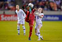 HOUSTON, TX - JANUARY 31: Marta Cox #11 of Panama clears a ball during a game between Panama and USWNT at BBVA Stadium on January 31, 2020 in Houston, Texas.