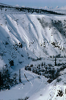 Aerial of Lavon Barve in Hell's Gate 1983 Iditarod<br /> near Rainy Pass