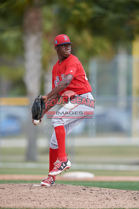Boston Red Sox pitcher Jose Bens (62) during a Minor League Spring Training game against the Baltimore Orioles on March 20, 2018 at Buck O'Neil Complex in Sarasota, Florida.  (Mike Janes/Four Seam Images)