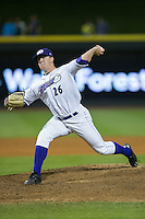 Winston-Salem Dash relief pitcher Brian Clark (26) in action against the Potomac Nationals at BB&T Ballpark on April 30, 2015 in Winston-Salem, North Carolina.  The Nationals defeated the Dash 5-4..  (Brian Westerholt/Four Seam Images)