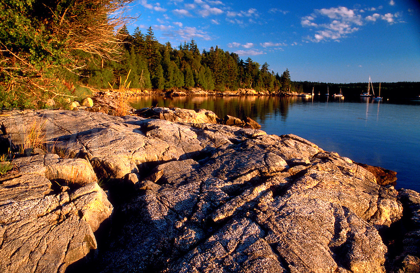 Scenic view along the rocky New England coastline in Acadia National Park. Bar Harbor, Maine.