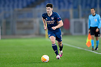 18th February 2021, Rome, Italy;  Kieran Tierney of Arsenal FC during the UEFA Europa League round of 32 Leg 1 match between SL Benfica and Arsenal at Stadio Olimpico, Rome, Italy on 18 February 2021.