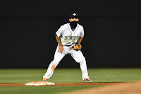 Shortstop Andres Jimenez (4) of the Columbia Fireflies plays defense on a cold night in a game against the Lakewood BlueClaws on Friday, May 5, 2017, at Spirit Communications Park in Columbia, South Carolina. Lakewood won, 12-2. (Tom Priddy/Four Seam Images)