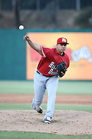 Ariel Jurado (28) of the High Desert Mavericks pitches against the Lake Elsinore Storm at The Diamond on April 27, 2016 in Lake Elsinore, California. High Desert defeated Lake Elsinore, 10-2. (Larry Goren/Four Seam Images)