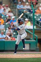 Columbus Clippers center fielder Michael Martinez (1) bats during a game against the Rochester Red Wings on August 9, 2017 at Frontier Field in Rochester, New York.  Rochester defeated Columbus 12-3.  (Mike Janes/Four Seam Images)