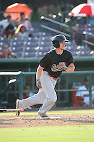 Tyler Baker (9) of the Visalia Rawhide bats against the Inland Empire 66ers at San Manuel Stadium on June 26, 2016 in San Bernardino, California. Inland Empire defeated Visalia, 5-1. (Larry Goren/Four Seam Images)