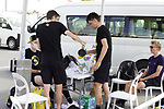 Coffee time for Sepp Kuss (USA) Team Jumbo-Visma at sign on before the start of Stage 6 of the 2021 UAE Tour running 165km from Deira Island to Palm Jumeirah, Dubai, UAE. 26th February 2021.  <br /> Picture: Eoin Clarke   Cyclefile<br /> <br /> All photos usage must carry mandatory copyright credit (© Cyclefile   Eoin Clarke)