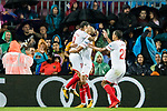 Guido Hernan Pizarro of Sevilla FC (C) celebrates after scoring his goal with teammates during the La Liga 2017-18 match between FC Barcelona and Sevilla FC at Camp Nou on November 04 2017 in Barcelona, Spain. Photo by Vicens Gimenez / Power Sport Images