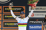 World Champion Alejandro Valverde (ESP) Movistar Team on the podium after finishing in 3rd place at the end of the 99th edition of Milan-Turin 2018, running 200km from Magenta Milan to Superga Basilica Turin, Italy. 10th October 2018.<br /> Picture: Eoin Clarke | Cyclefile<br /> <br /> <br /> All photos usage must carry mandatory copyright credit (© Cyclefile | Eoin Clarke)
