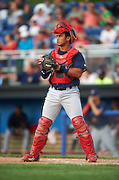 State College Spikes catcher Chris Rivera (32) during a game against the Batavia Muckdogs on June 22, 2016 at Dwyer Stadium in Batavia, New York.  State College defeated Batavia 11-1.  (Mike Janes/Four Seam Images)