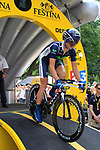 Vasili Kiryienka (BLR) Movistar Team powers down the start ramp of the Prologue of the 99th edition of the Tour de France 2012, a 6.4km individual time trial starting in Parc d'Avroy, Liege, Belgium. 30th June 2012.<br /> (Photo by Eoin Clarke/NEWSFILE)