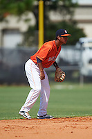 GCL Astros second baseman Juan Pineda (16) during the first game of a doubleheader against the GCL Mets on August 5, 2016 at Osceola County Stadium Complex in Kissimmee, Florida.  GCL Astros defeated the GCL Mets 4-1 in the continuation of a game started on July 21st and postponed due to inclement weather.  (Mike Janes/Four Seam Images)