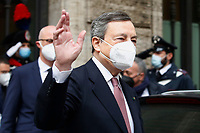 The newly appointed Italian Prime Minister Mario Draghi out of the Senate during the vote of confidence in the new Government. Rome (Italy), February 17th 2021<br /> Photo Samantha Zucchi Insidefoto