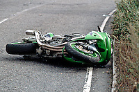 A road traffic accident involving a motorbike and a van. The driver of the van went too fast around the bend and clipped the motorbike coming the other way. ..© SHOUT. THIS PICTURE MUST ONLY BE USED TO ILLUSTRATE THE EMERGENCY SERVICES IN A POSITIVE MANNER. CONTACT JOHN CALLAN. Exact date unknown.john@shoutpictures.com.www.shoutpictures.com...