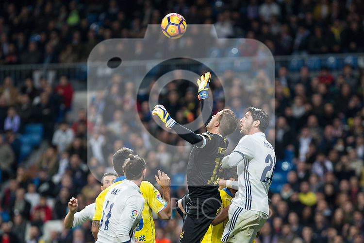Javi Varas of UD Las Palmas and Isco Alarcon of Real Madrid  during the match of Spanish La Liga between Real Madrid and UD Las Palmas at  Santiago Bernabeu Stadium in Madrid, Spain. March 01, 2017. (ALTERPHOTOS / Rodrigo Jimenez)