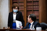 United States Senator Marco Rubio (Republican of Florida) and chairman of the US Senate Small Business and Entrepreneurship Committee, speaks with United States Senator Jacky Rosen (Democrat of Nevada), during a hearing in Washington, D.C., U.S., on Wednesday, June 10, 2020. The hearing examines the government's virus relief package that offers emergency assistance to small businesses.  <br /> Credit: Al Drago / Pool via CNP/AdMedia