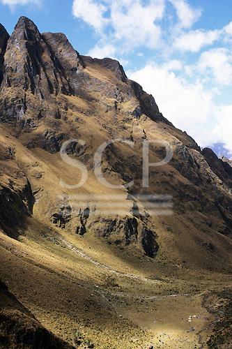 Inca Trail to Machu Picchu, Peru. Steep Andean mountain slopes near Huarmihuanusca (Warmiwanusca).