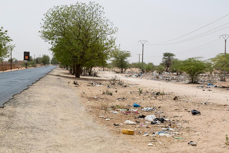 Senegal.  Trash Litters the Roadside along a Highway in Northern Senegal.