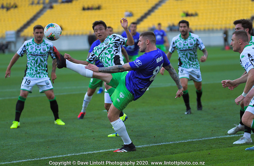 Gary Hooper controls the ball in the box during the A-League football match between Wellington Phoenix and Western United FC at Sky Stadium in Wellington, New Zealand on Friday, 21 February 2020. Photo: Dave Lintott / lintottphoto.co.nz