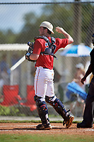Mitchell Fleming during the WWBA World Championship at the Roger Dean Complex on October 21, 2018 in Jupiter, Florida.  Mitchell Fleming is a catcher from Milton, Georgia who attends Cambridge High School and is committed to Montevallo.  (Mike Janes/Four Seam Images)