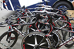 Lotto Belisol Team Ridley bikes lined up before the Prologue of the 99th edition of the Tour de France 2012, a 6.4km individual time trial starting in Parc d'Avroy, Liege, Belgium. 30th June 2012.<br /> (Photo by Eoin Clarke/NEWSFILE)