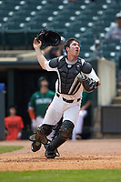 Wake Forest Demon Deacons catcher Ben Breazeale (39) on defense against the Miami Hurricanes in Game Nine of the 2017 ACC Baseball Championship at Louisville Slugger Field on May 26, 2017 in Louisville, Kentucky. The Hurricanes defeated the Demon Deacons 5-2. (Brian Westerholt/Four Seam Images)
