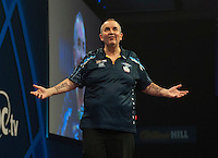 04.01.2015.  London, England.  William Hill PDC World Darts Championship.  Finals Night.  Phil Taylor (2) [ENG] in action during his game with Gary Anderson (4) [SCO]. Gary Anderson won the match 7-6