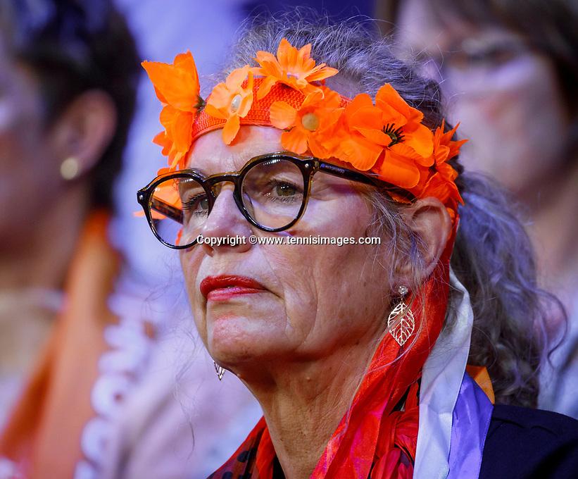 The Hague, The Netherlands, Februari 8, 2020,    Sportcampus, FedCup  Netherlands -  Balarus, Dutch supporter<br /> Photo: Tennisimages/Henk Koster