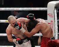 Mathieu ''G Time'' Germain <br /> fight with  Noel Mejia Rincon, March 12,2015.<br /> <br /> Photo : Pierre Roussel - Agence Quebec Presse