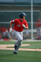 Boston Red Sox Tyler Dearden (36) runs to first base during a Minor League Spring Training game against the Baltimore Orioles on March 20, 2019 at the Buck O'Neil Baseball Complex in Sarasota, Florida.  (Mike Janes/Four Seam Images)